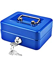Small Cash Box with Key Lock, Portable Metal Money Box with Double Layer & 2 Keys for Security 12.5 * 10 * 5.6cm, Black&Blue&White