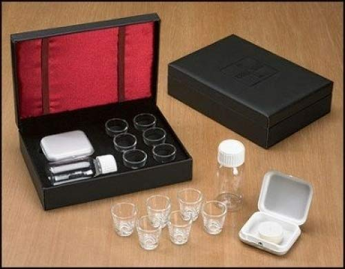 Gift Set Portable - Cross Detail Faux Leather Box 6 Cup Portable Travel Communion Set Minister Gift