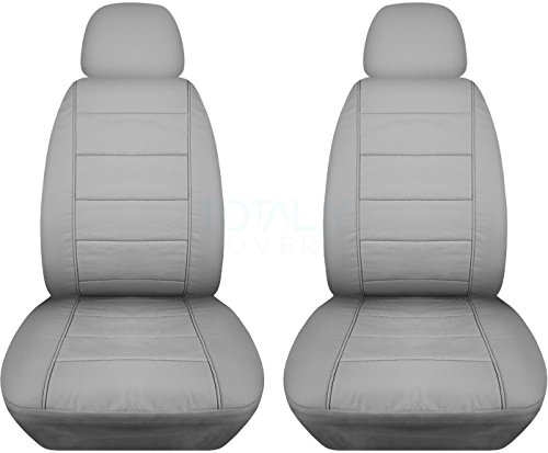 Solid Car Seat Covers w 2 Separate Headrest Covers: Silver - Semi-Custom Fit - Front - Will Make Fit Any Car/Truck/Van/SUV (23 Colors) ()