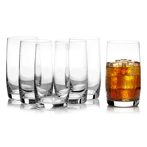 Tall Highball Drinking Glasses Set of 6 - Cocktail, Water, Kitchen Tumblers, Ideal Collection by Bohemia Crystal Glassware Set, 12.8 Ounces / 380 Milliliters (Set Glass Crystal Highball)