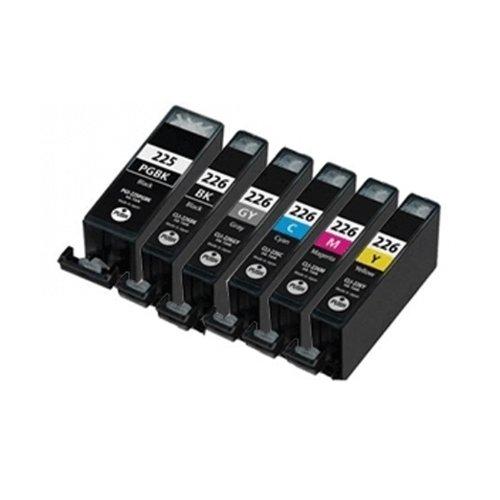 HI-VISION® 6 Pack Compatible Canon PGI-225 CLI-226 Ink Cartridge Replacement (Large Black,Black,Cyan,Yellow,Magenta,Gray) for PIXMA iP4820,iX6520,MG5320,MG5120,MG6120 Wireless,MG8120,MX892