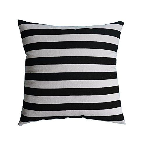 (M MOCHOHOME Decorative Cotton Canvas Black/White Stripe Square Throw Pillow Cover Case Pillowcase Cushion Sham - 24