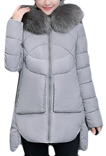 High Jacket Fur Hooded Womens Solid Grey UK Low today Hem Down Puffer Faux qwpF6K1