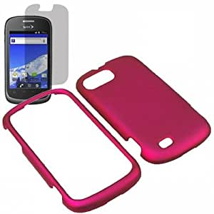 AM Hard Shield Shell Cover Snap On Case for Sprint ZTE Fury N850 + Fitted Screen Protector -Rose Pink