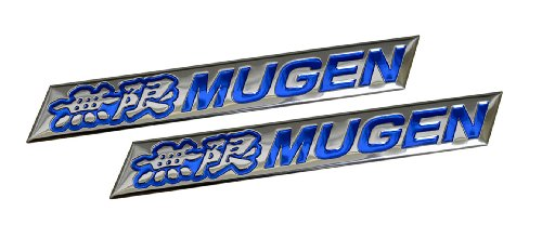 2 x (pair/set) Mugen Embossed BLUE on Highly Polished Silver Real Aluminum Auto Emblem Badge Nameplate for Honda Acura Civic Fit Prelude Integra RSX Accord Si RSX GSR TSX CL TL GSR LS EK9 EK EG Type-R S JDM other models