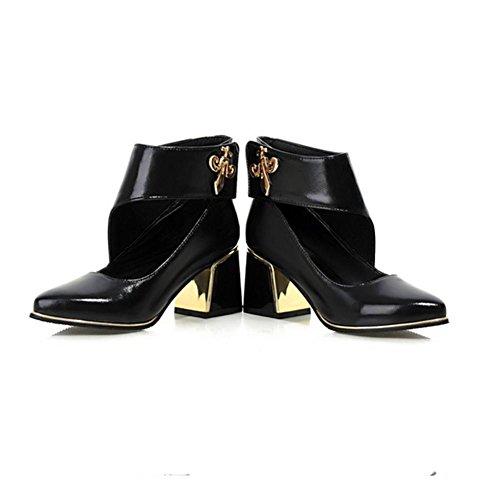 puntiagudo zapatos Negro metal abrasión H grueso Black caucho mujeres hueco Blanco 40 rojo HCuatro temporadas XIAOGANG talón BzqxYvz