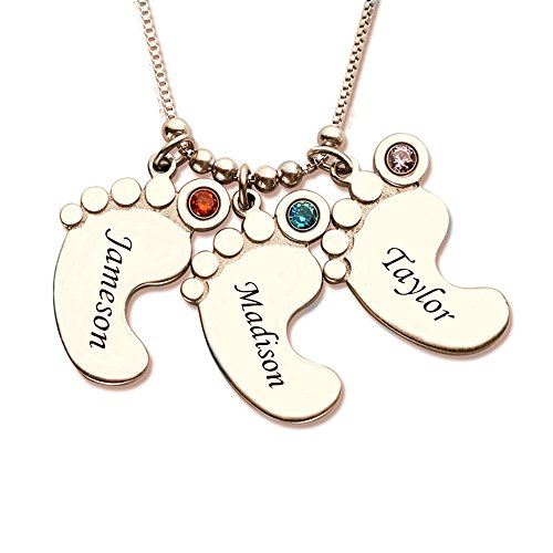 XXI0c2sd2s Baby Feet Charm Birthstone Mother Necklace Personalized Kids Name Necklace Celebrate Moms Children Birthstone Jewelry (18K Rose Gold 20