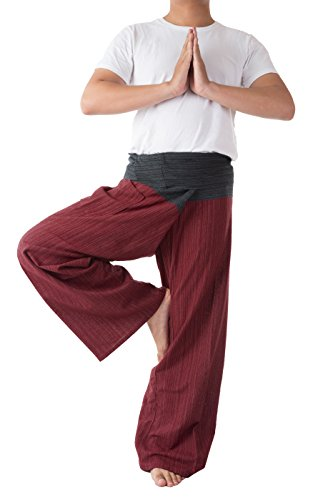 Thai Fisherman Pants Men's Yoga Trousers Black and Red 2 Tone Pant