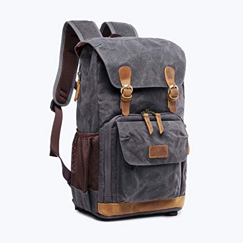 Vintage Canvas Backpack for Adult Travel, Man Waterproof Photography Daypack, Spongy Baffle Included, Premium Gray (Gray) (Best Daypack For Photography)