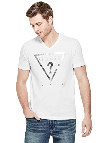 (GUESS Factory Men's Taft Logo V-Neck Metallic Short-Sleeve Tee)