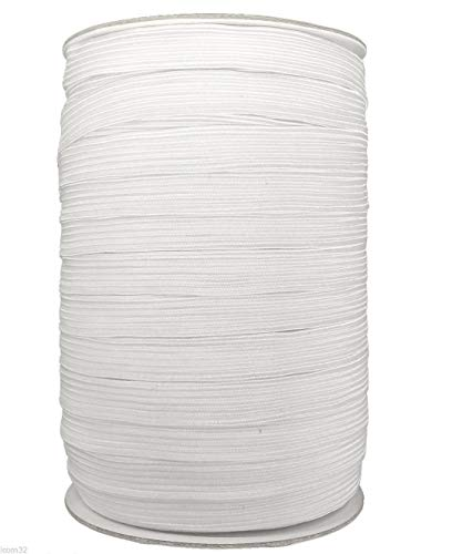 Knit Heavy Stretch High Elasticity Elastic Band for Garment/Flat Elastic Cord/Spool Sewing Band (2M, White-8mm ()