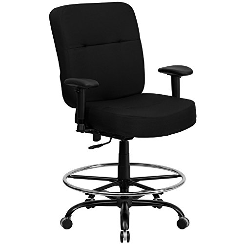 HERCULES Series 400 lb. Capacity Big & Tall Black Fabric Drafting Stool with Extra WIDE Seat Arms by Flash Furniture