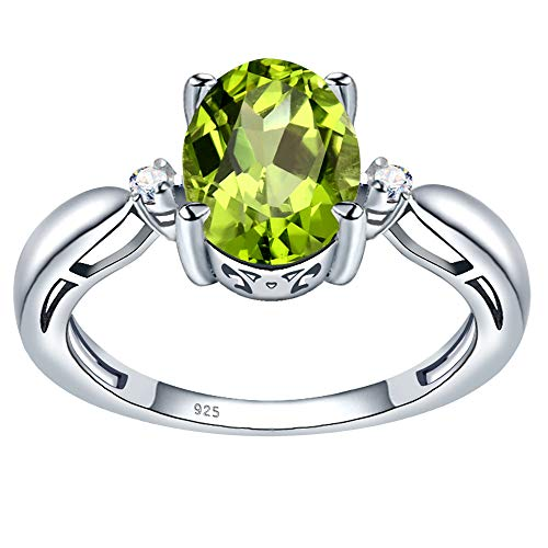 2.24 Ct. Simulated Peridot & Diamond Sterling Silver Solitaire Ring for Womens