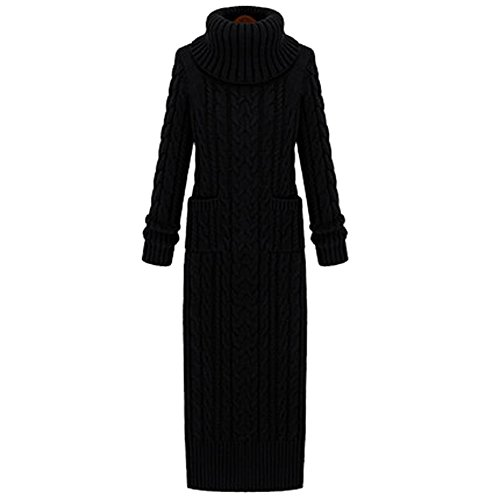Neck Cable Knit Dress (Bopstyle Women's Slim Fit Cowl Neck Long Sleeve Knit Sweater Dress (L,)