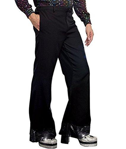 Alvivi Men's Sequin Cuff Bell Bottom Flared Long Pants Club Disco Rave Dance Dude Costume Trousers Black -