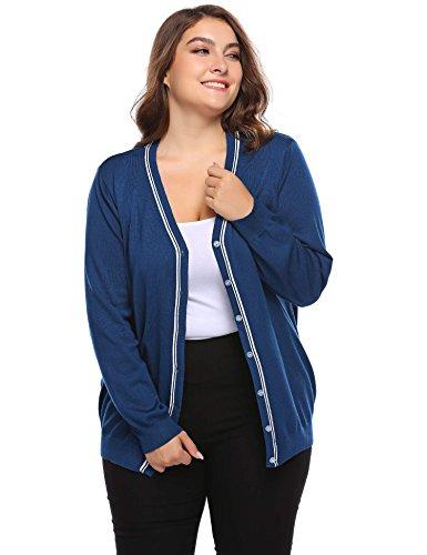 Bifast Elastic Light Crocheted Cardigan Sweaters for Women Leisure Light Blue 22W