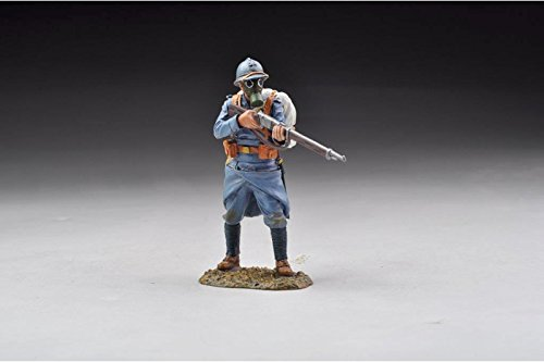 WWI French Infantry Standing Firing Poilu Wearing Gas Mask GW048 Thomas Gunn The Great War Series Hand Painted Metal Figure 1/30 Toy Soldiers Compatible with Britains King Country