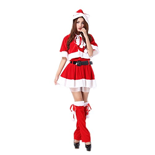 FloYoung® 2017 Women's Red Sweet Miss Christmas Santa Claus Costume Suit #8 (Surprise Reg's Christmas)
