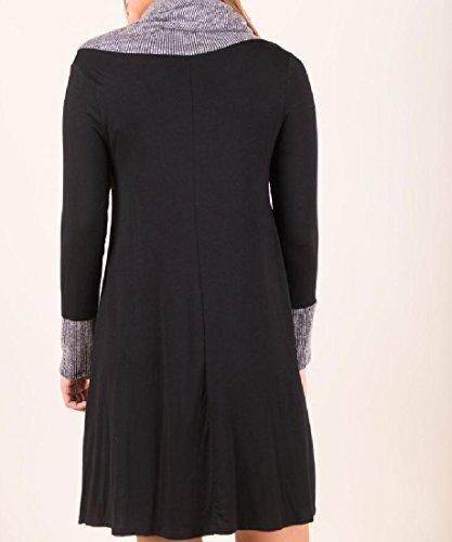 Les Femmes Confortables Coutures À Col Châle Robes Élégantes Solides Club Surdimensionné Noir