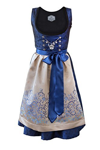 (Edelnice Trachtenmoden Bavarian Women's Midi Dirndl Dress 3-Pieces+ Apron RoyalBlue Gold)