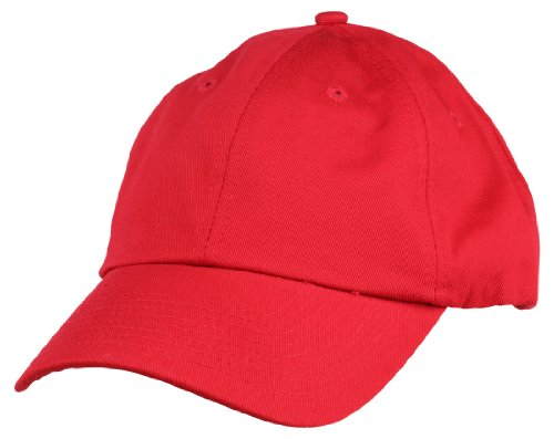Dalix Unisex Unstructured Cotton Cap Adjustable Plain Hat, Red