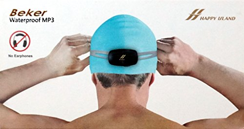 Swimmers Music Speaker/Player BONE CONDUCTION - Waterproof - Fits on goggles or in cap | World's First of it's kind MP3/WMA/WAV