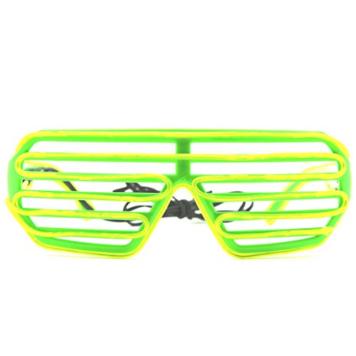 Neon Green LED Shutter Glasses - Glowing Sound Activated Bright Rave Sound Activated EDM Party Club - Shutter Shades Glowing