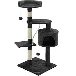 CADOCA® Arbol rascador para gatos | Con 3 plataformas | 1 cueva | 2 pelotas