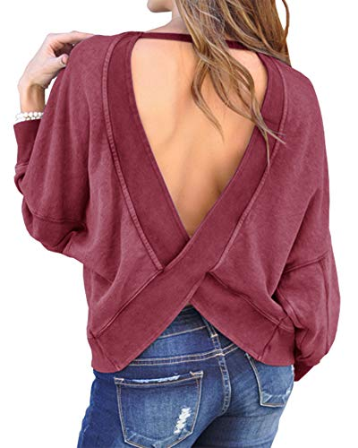 BTFBM Women's Backless Loose Shirt Long Sleeve Open Back Cross Tee Top Blouse (Large, Wine Red) ()