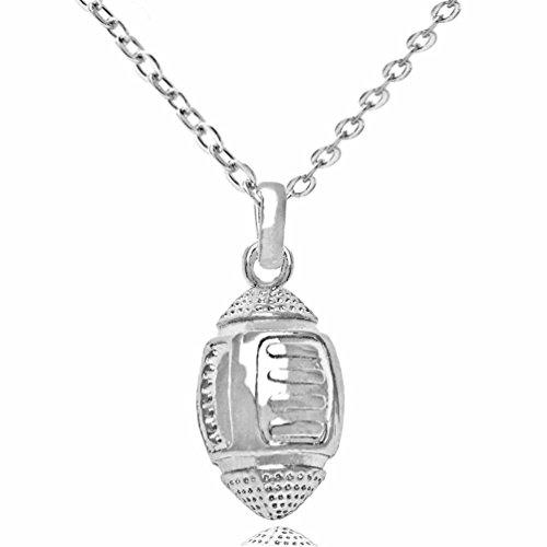 Cuekondy Stainless Steel Chain Basketball Football Pendant Necklace Hip Hop Sport Charm Statement Jewelry for Men Women Girls (Silver 1)
