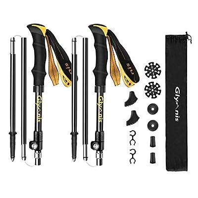 Glymnis Trekking Poles Collapsible Hiking Poles Lightweight Walking Poles Sticks with Tungsten Tips Quick Flip Lock 7075 Aluminum 2 Pack