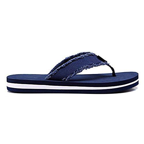 Mens or Teenager Frayed Flip Flops Classic Lightweight Thong Sandal Blue 08vo6