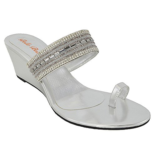 7d2ec020d ESSEX GLAM Womens Low Heel Wedge Diamante Sparkly Silver Synthetic Toe Post  Sandals 9 B(