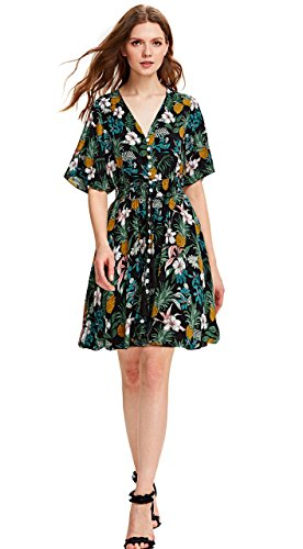 Print Women's Boho Floral A 1 green Milumia up Split Party Button multicolor Flowy Dress SqnYA