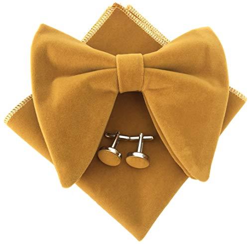 Mens Pre-Tied Oversized Bow Tie Tuxedo Velvet Bowtie Cufflinks Hankie Combo Sets (Dark Yellow), 4.7 inches x 4.1 inches