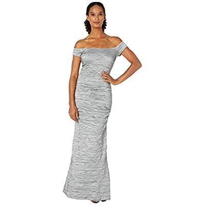 Alex Evenings Women's Long Fitted Off The Shoulder Dress at Women's Clothing store