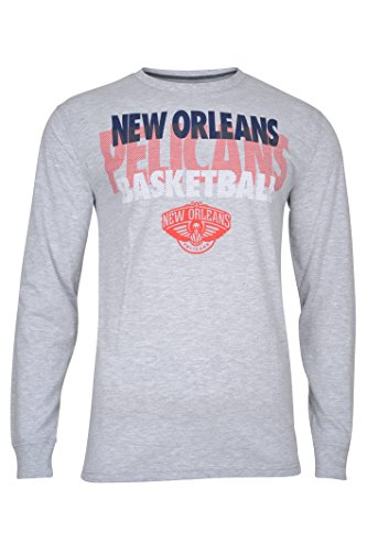 fan products of NBA Men's New Orleans Pelicans T-Shirt Supreme Long Sleeve Pullover Tee Shirt, Medium, Gray