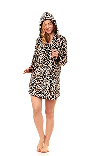 Cozy Long Sleeve Hoodie Mini Casual Dress Lounge Sweatshirt With Pockets (Large, Leopard)