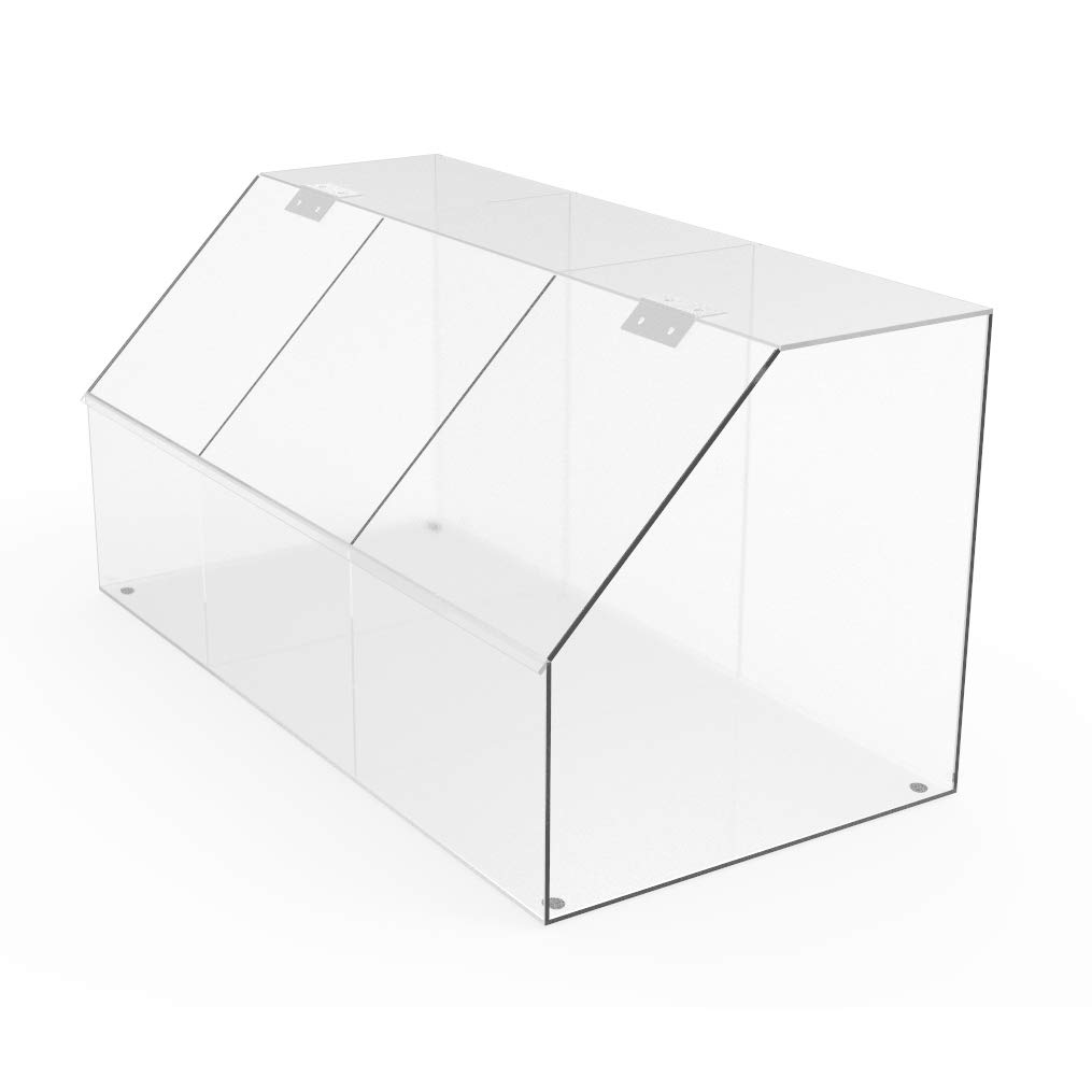 FixtureDisplays Clear Acrylic Candy Bin Partitioned Dry Food Display Spices Container Retail Donut Cookie Bin