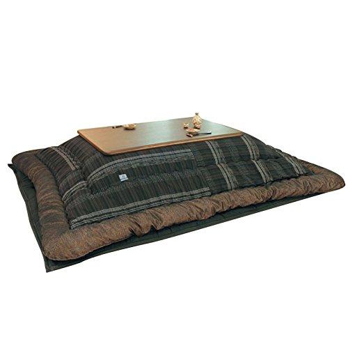 こたつ布団 105~120センチ巾こたつ用 KF-389 オーガニックコットン和風格子柄 長方形こたつ布団(掛敷セット) 国産品   B078FTCJVS