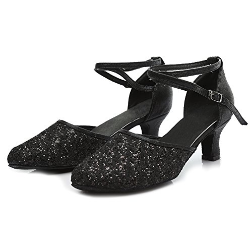 Shoes Model Black 2 Latin UKMF1802 Shoes Ballroom YKXLM amp;Women's Girls Salsa Dance Performance Leatherette Standard CqxOPwXn