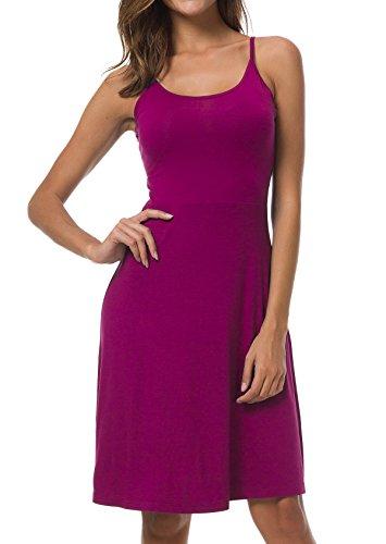 Spaghetti Strap Slip Dress - AUHEGN Women's Adjustable Spaghetti Straps Summer Dress Sleeveless Sexy Backless Party Dresses Purple L