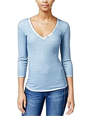 Guess Gunnar Three-Quarter-Sleeve V-Neck Top