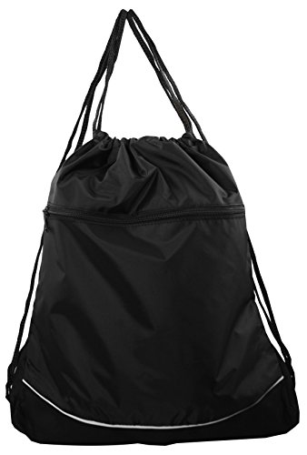 Nylon Drawstring Backpack with Wide Front Pocket