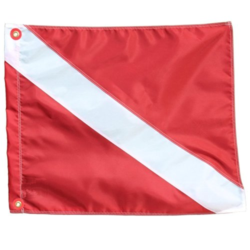 Performance Divers Scuba Dive Flags - Nylon Diver Down Flag - Scuba Diver Flag - Boat Flag Marker for Snorkeling, Diving, Underwater Activities Red & White 14-inch x 18-inch