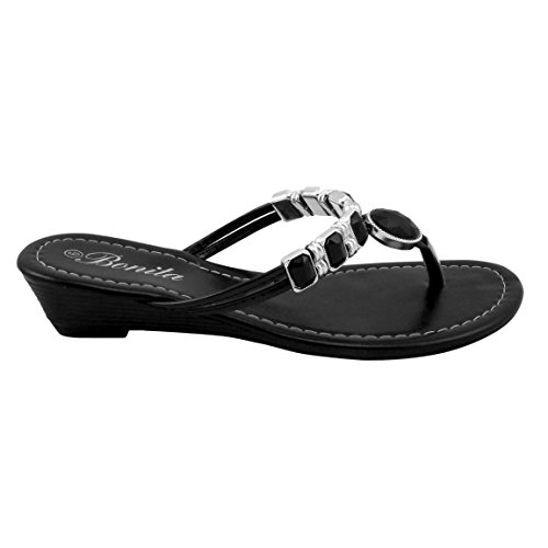 Bonita Women's Wedge Sandals Flip Flops Shoes BABY-01 Black 6
