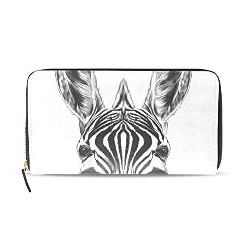Womens Wallets Cute Zebra Head Leather Passport Wallet Change Purse Zip Handbags ()