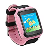 Dizzlle Boys Girls Kids Touchscreen GPS Smart Watch Phone for iOS Android Smartphone with Camera SOS Pedometer (Pink)