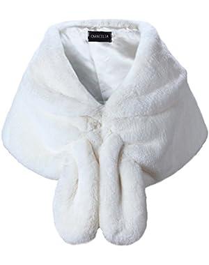 Faux Fur Shawl Wrap Stole Shrug Winter Bridal Wedding Cover Up