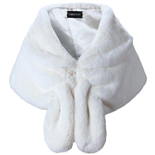 Caracilia Warm Faux Fur Wedding Shawl Wrap for Wedding Party Show CA95 , Ivory , Small
